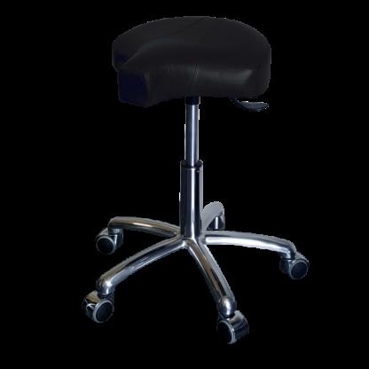 PHE Klippestol med alu stel - Ergonomisk behandlerstol og ståstøttestol - Egholm Skind ApS.