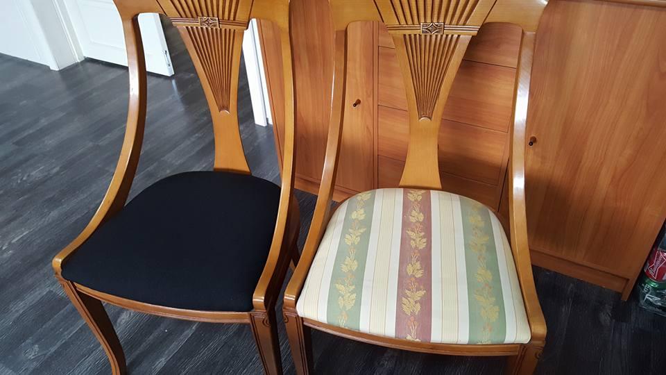Ompolstring spisestole ør og efter billede.